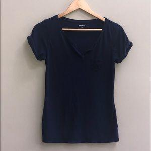 EXPRESS Cuffed Short navy blue sleeve T-Shirt